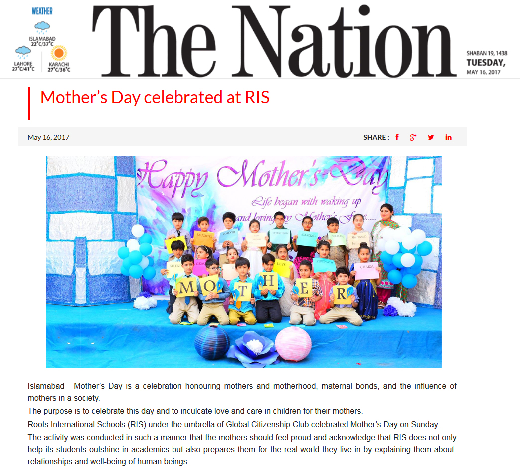 Mother's day celebration at RIS