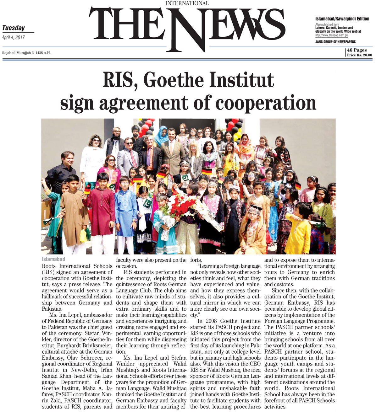 RIS Goethe Institut sign agreement of cooperation