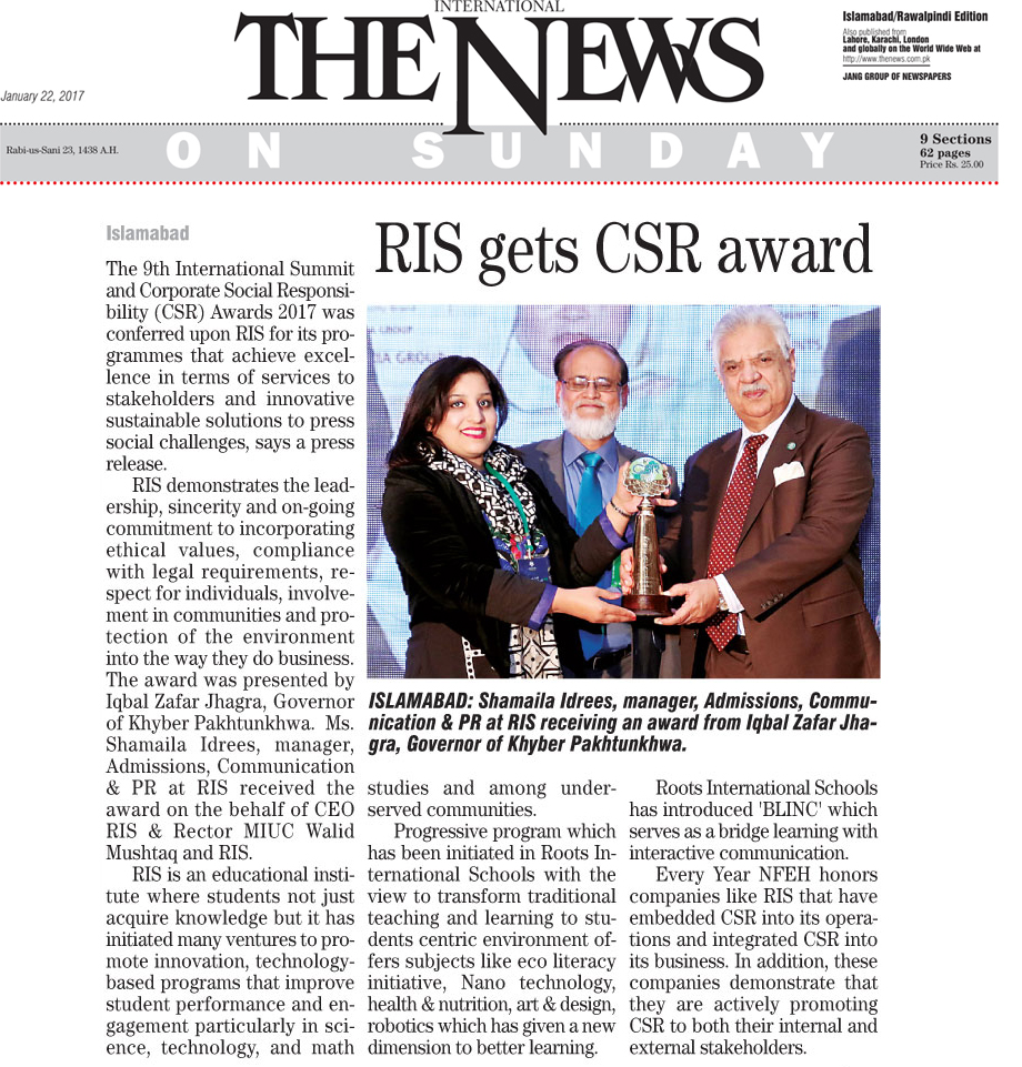 RIS gets CSR award