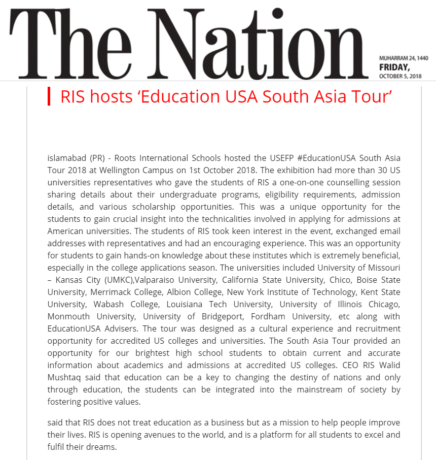RIS hosts 'Education USA South Asia Tour'