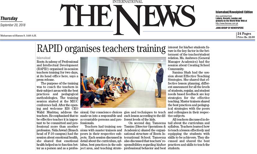 Rapid organises teachers training